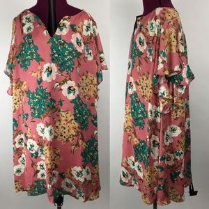 Umgee Floral Tunic Dress Size L Pink NWT